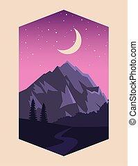 scène, lune, paysage montagne, beau