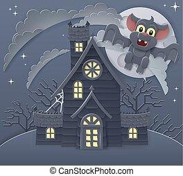 scène, maison, hanté, chauve-souris, dessin animé, halloween
