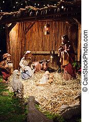scène naissance noël, à, trois hommes sages, présentation, dons, à, bébé jésus, mary joseph