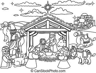 scène naissance noël, dessin animé