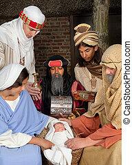 scène nativité, à, wisemen