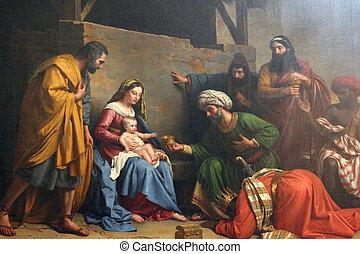 scène nativité, adoration, de, les, magi