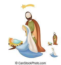 scène nativité, famille, saint, isolé