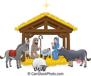 scène, nativity noël, dessin animé