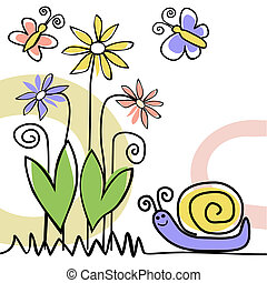 scène nature, à, escargot