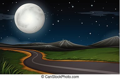scène nature, route, nuit