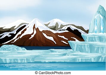 scène neige, montagnes