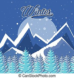 scène, noël, paysage, hiver