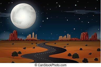 scène, nuit désertique