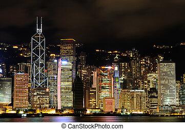 scène nuit, de, hong kong, cityscape