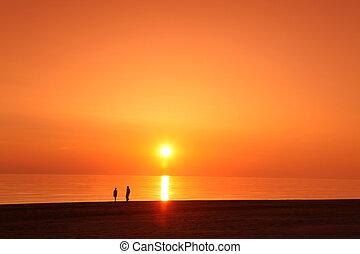 scène, oceaan, ondergaande zon , zee, scape, oceaan, strand,...