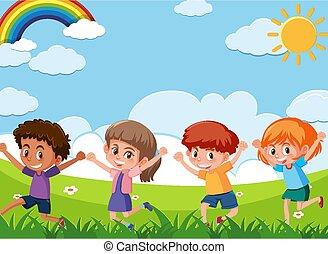 scène, quatre, jouer, heureux, enfants, champ