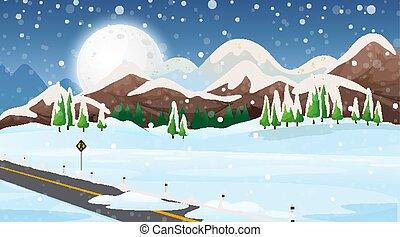 scène, route, neige