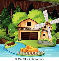 scène rurale, maison