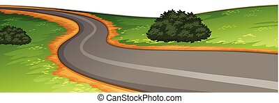 scène rurale, route
