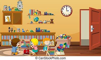 scène, salle gosses, jouer, lecture
