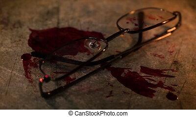 scène, sanguine, crime, conceptuel, lunettes, grungy