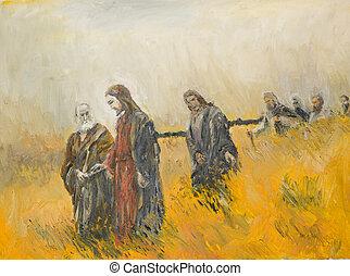 scène, sien, religieux, christ, disciples