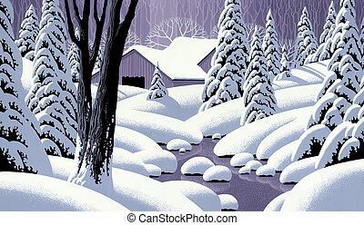 scène, sneeuw, schuur