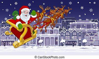 scène, traîneau neige, nuit, claus, noël, rue, santa