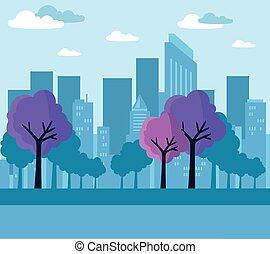 scène, urbain, bâtiments, arbre, usines