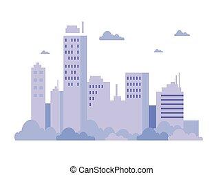 scène, urbain, bâtiments, nuages
