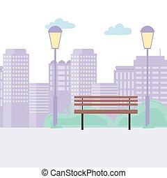 scène, urbain, lampes, bâtiments, banc, rue ville, parc, conception