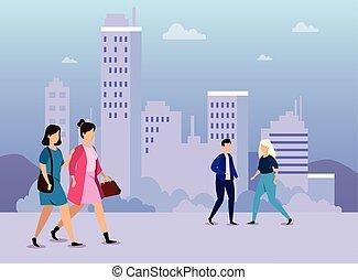 scène, urbain, marche, jeunes