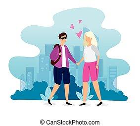 scène urbaine, couple, jeune
