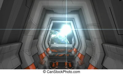 scène, vaisseau spatial, couloir