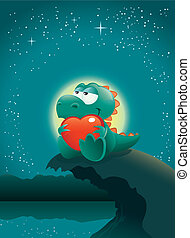 scène, valentijn, needs!, bestand, enig, perfect, valentine, deeply, love., editing., vector, schattige, easier, scheiden, tekst, illustratie, baby, dag, groot, dinosaurus, layered, nacht