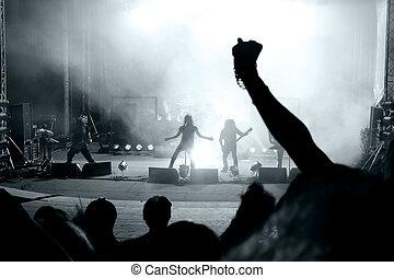 scène, van, een, rockfestival