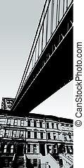 scène ville, à, pont