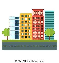 scène ville, et, bâtiments, à, arbres, image