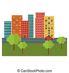 scène ville, et, bâtiments, à, arbres, ligne, autocollant