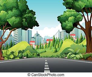 scène ville, route
