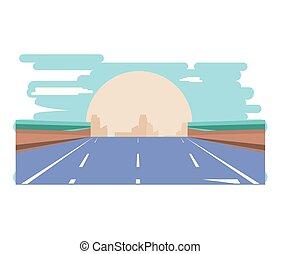 scène ville, route, icône