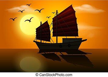 scène, voilier, silhouette, coucher soleil