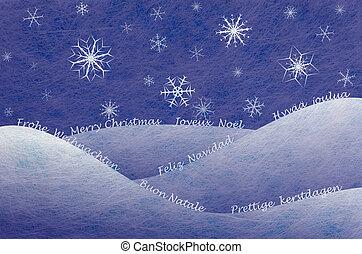 scène, winter, kaart, kerstmis