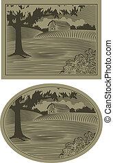 scène, woodcut, grange