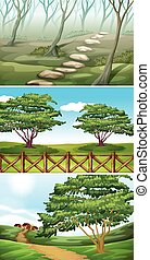 scènes, bomen, heuvels