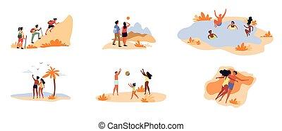 scènes, collection, 6, loisir, différent, activité