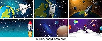 scènes, espace, fusées, ensemble