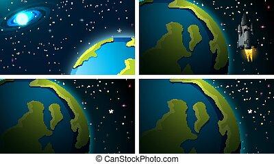 scènes, la terre, espace, ensemble