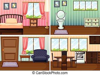scènes, salles, maison, quatre