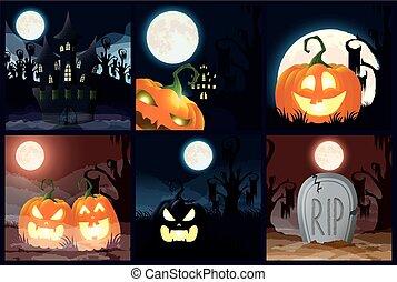 scènes, sombre, paquet, halloween