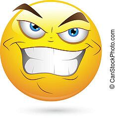 scélérat, vecteur, mal, visage smiley