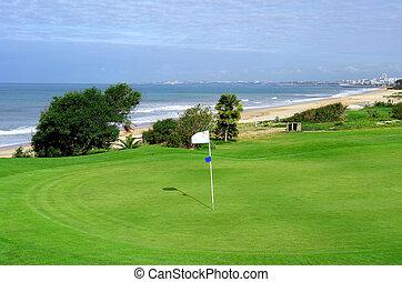 scénario, golf, côtier, plage