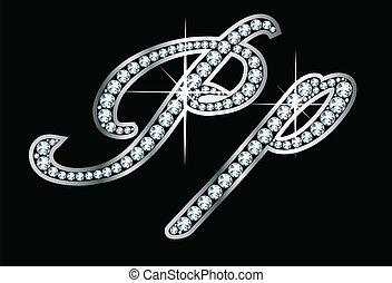 scénario, pp, bling, lettres, diamant