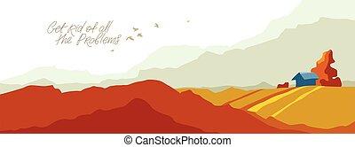 scénique, automne, prairies, concept., randonnée, illustration, voyage, prés, saison, beau, paysage, vecteur, montagnes, collines, automne, campagne, nature, voyager